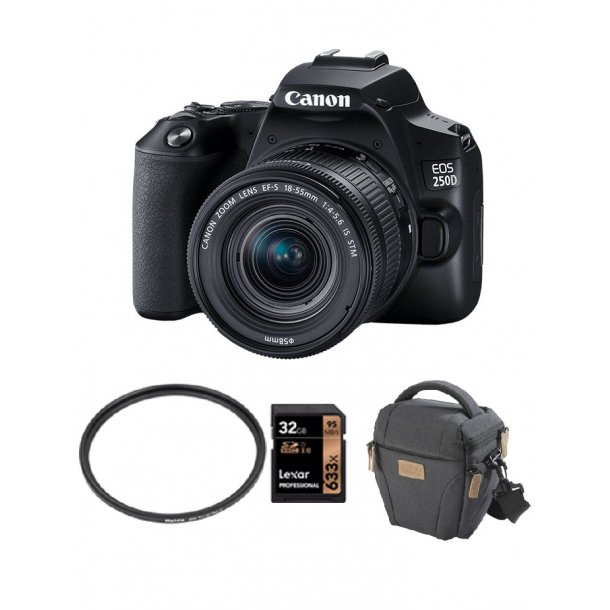 Canon EOS 250D m. EF-S 18-55mm IS STM sort INKL: START KIT 2 Spar 18% på tilbehør